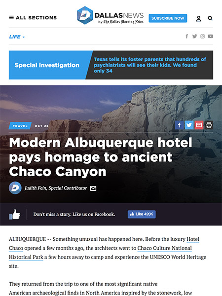 Modern Albuquerque hotel pays homage to ancient Chaco Canyon | The Dallas News October 2017