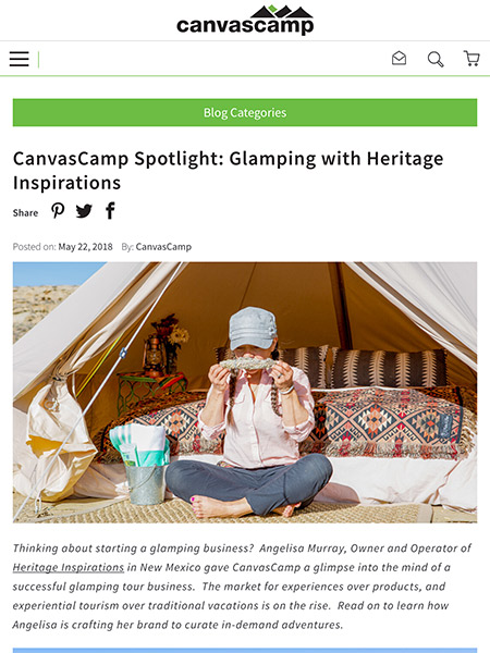 CanvasCamp Spotlight: Glamping with Heritage Inspirations | CanvasCamp.com May 2018