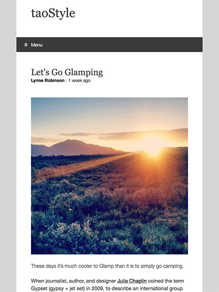 Let's Go Glamping | taoStyle.net May 2018