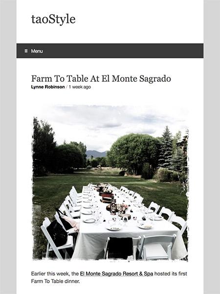 Farm To Table At El Monte Sagrado | taoStyle.net June 2018