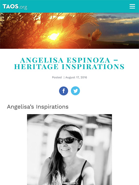 Angelisa Espinoza – Heritage Inspirations | Taos.org August 2016