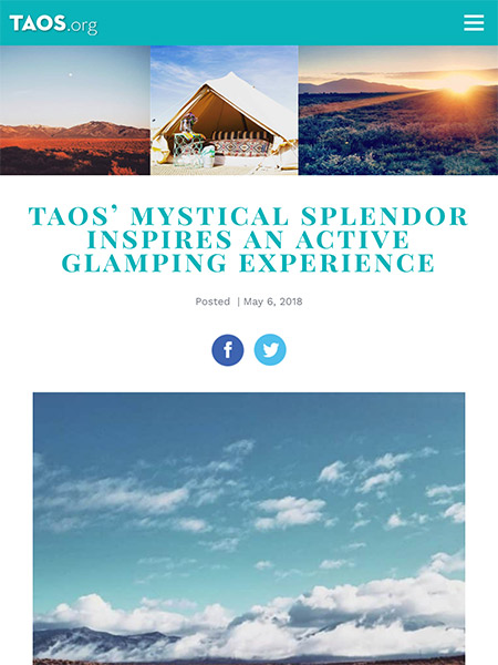 Taos' Mystical Splendor Inspires an Active Glamping Experience | Taos.org May 2018