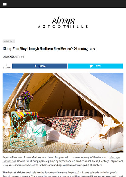 Glamp Your Way Through Northern New Mexico's Stunning Taos | arizonafoothillsmagazine.com July 2018