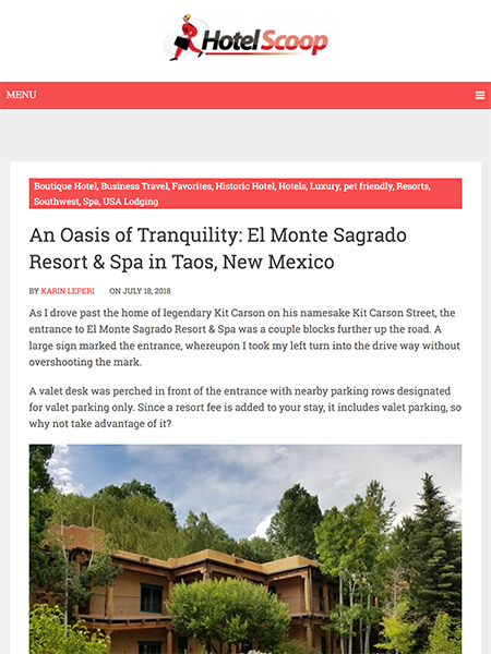 An Oasis of Tranquility: El Monte Sagrado Resort & Spa in Taos, New Mexico | hotel-scoop.com July 2018