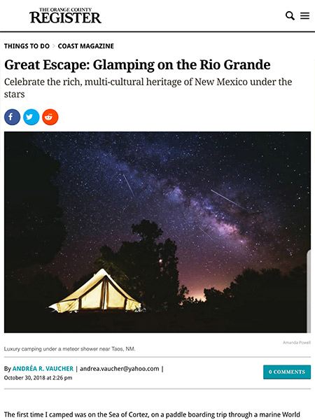 Great Escape: Glamping on the Rio Grande | ocregister.com October 2018