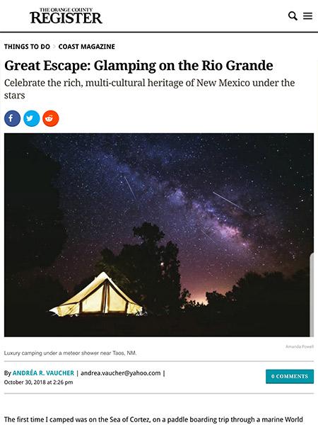 Great Escape: Glamping on the Rio Grande | ocregister.com October 2018