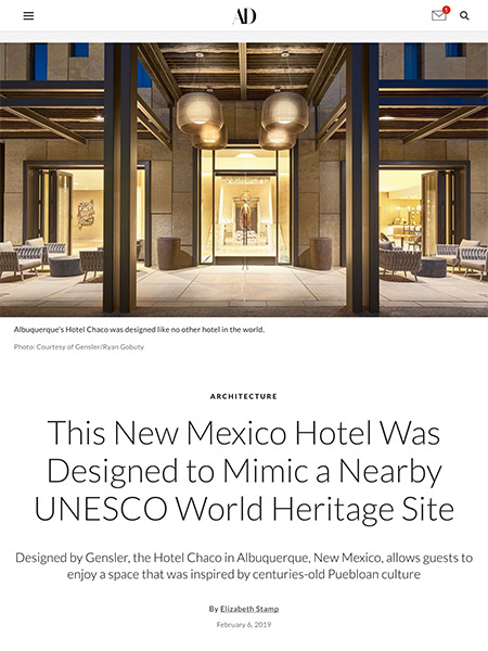 This New Mexico Hotel Was Designed to Mimic a Nearby UNESCO World Heritage Site | architecturaldigest.com February 2019