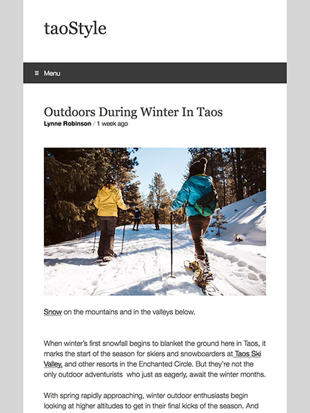 Outdoors During Winter In Taos | taoStyle.net February 2019