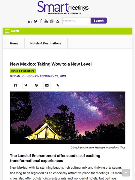 New Mexico: Taking Wow to a New Level | smartmeetings.com February 2019