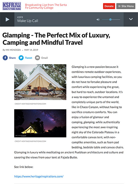 Glamping - The Perfect Mix of Luxury, Camping and Mindful Travel | ksfr.org May 2019