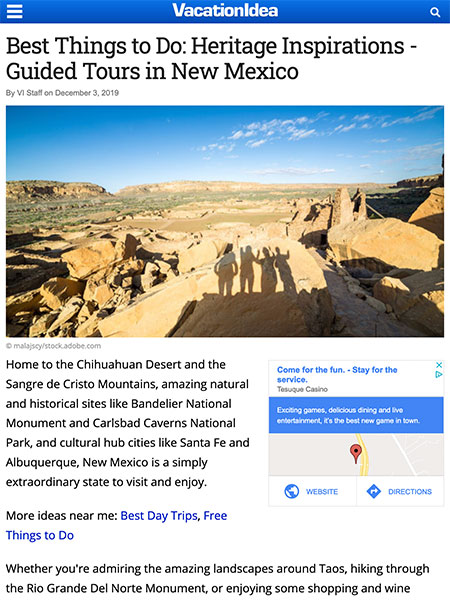 Best Things to Do: Heritage Inspirations - Guided Tours in New Mexico | VacationIdea.com Dream Vacations Magazine December 2019