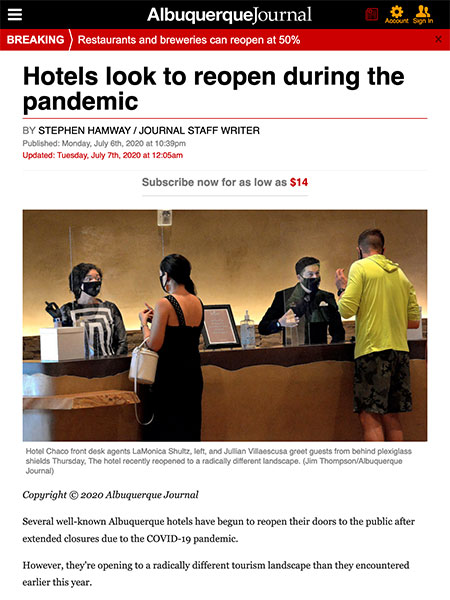 Hotels look to reopen during the pandemic | Albuquerque Journal June 2020