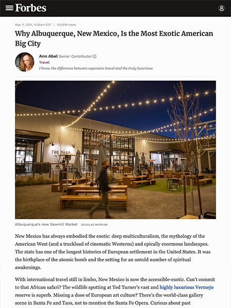 Why Albuquerque, New Mexico, Is the Most Exotic American Big City | Forbes.com May 2021
